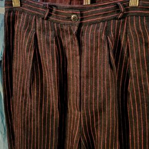 Anne Klein Classics linen red black striped pants